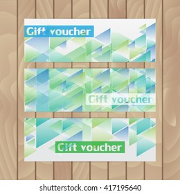 Set of vector flyers. Abstract in turquoise colors. Triangles.