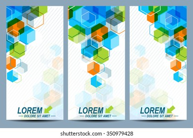 Set of the vector flyers.  Background with colorful hexagons. Modern stylish design.