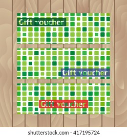 Set of vector flyers. Background of green mosaic. Squares.