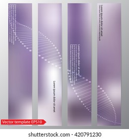 Set of vector flyers. DNA helix on a purple background. Molecule.