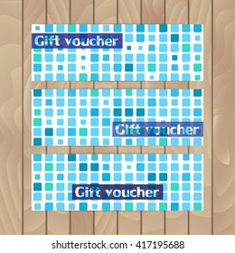 Set of vector flyers. Mosaics made of blue squares. Marine theme.