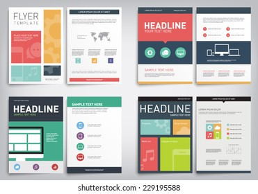 Set of vector flyers template with flat design style