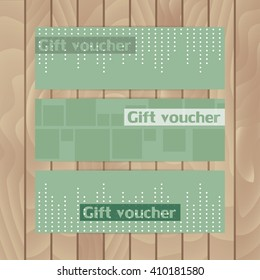 Set of vector flyers. Three vector flyer layout voucher dark green. Abstraction. Dots and squares.