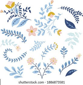 Set of vector folk art flowers and leaves, floral decor