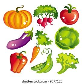 Set of vector food : vegetables
