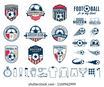 Set of vector football (soccer) club logo, labels and icons for sport teams, tournaments and organizations.