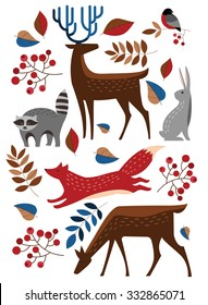 Set Vector forest animals. Raccoon, deer, Fox, rabbit, hare, bullfinch. Winter forest.