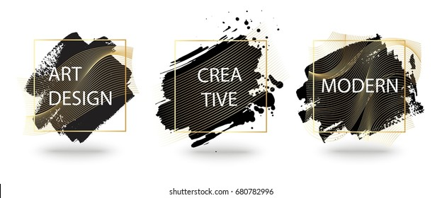 Set of vector frame with hand drawn brush strokes. Stylish modern background with gold waves. Design element for text, flyer, business card, invitations, gift card, brochure.