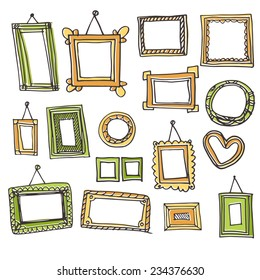 Set of vector frames in graphic style. Sketch picture frames and photo. Colored picture frames. Freehand drawing.