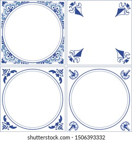 Set of vector frames in the style of dutch  delft blue tiles