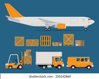 Set of vector freight cargo transport icons featuring cargo jet airplane, wooden and cardboard containers and crates, forklift, local delivery truck and cargo van