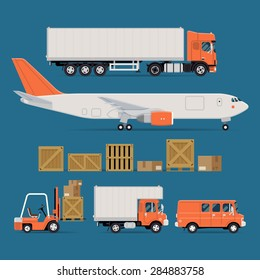 Set of vector freight cargo transport icons featuring flat nose semi-trailer truck, cargo jet airplane, wooden and cardboard containers and crates, forklift, local delivery truck and cargo van