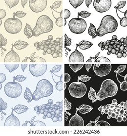 Set of a vector fruits patterns