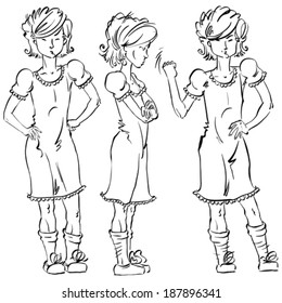 Set of vector full-length hand-drawn Caucasian teens, black and white front and side view sketch of an angry girl threatening the fist, monochrome illustration of standing adolescent with hand crossed