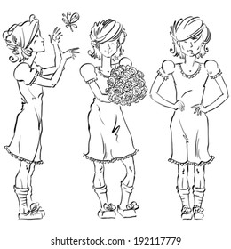 Set of vector full-length hand-drawn Caucasian teens, black and white front and side view sketch of a girl catch a butterfly, monochrome illustration of standing adolescent holding a bouquet of roses.