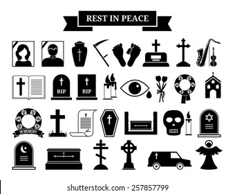 Set of vector funeral icons. Black silhouette and portrait tombstone, urn and ashes, wreath and hearse