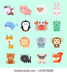Set of vector funny animals in cartoon style. Cute animals on color background.