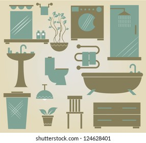 set of vector furniture icons for bathroom