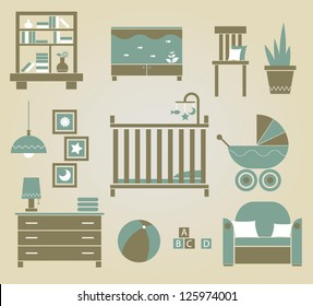 set of vector furniture icons for nursery
