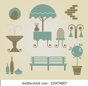 set of vector furniture icons for outdoor
