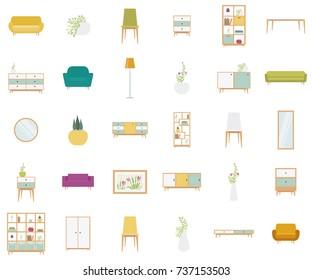 Set of vector furniture for living room
