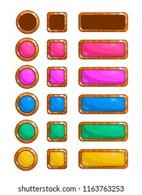 A set of vector game buttons for the design of games and applications. Colored wooden buttons.