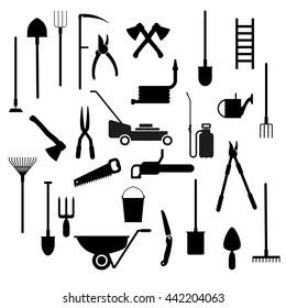 Set of vector garden tools in flat style
