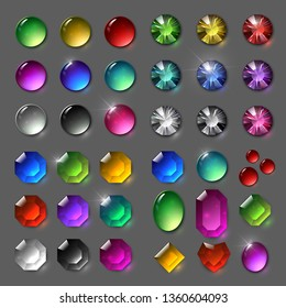 Set of vector gems. Jewelery, shining stones. Crystals of different colors and shapes, rhinestones