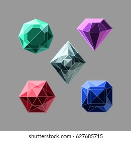 Set of vector gemstones on the gray background