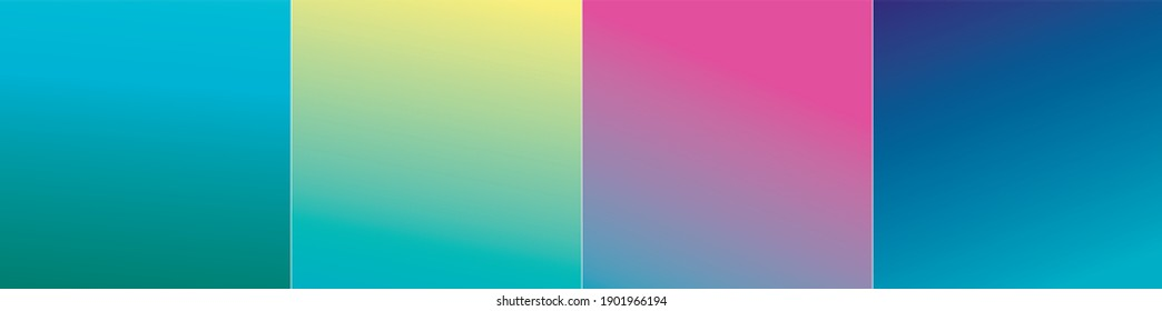 Set of vector gentle pastel simple trendy gradients. 2021 collection of modern colors. Palette for decoration and design. Isolated palettes. Stretching color. Turquoise, emerald, blue, light, yellow.