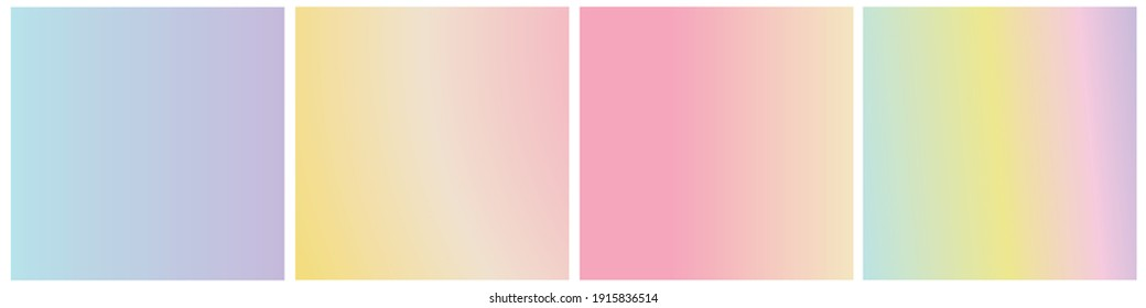 Set of vector gentle pastel simple trendy gradients. 2021 collection of modern colors. Isolated palette for decoration, web design. Stretching color, background, template, blank. Pink, beige, blue