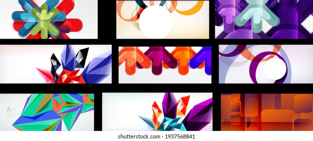 Set of vector geometric abstract backgrounds
