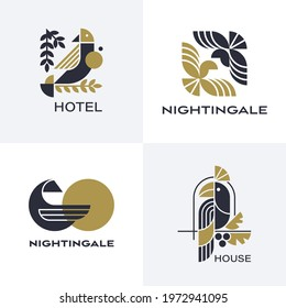 Set of vector geometric birds' symbols.