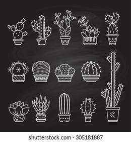 Set vector geometric cacti  in trendy mono line style - art deco.It can be used as a stamp, postcard or print