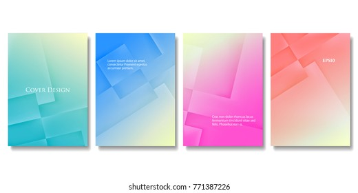 Set of Vector Geometric Colorful Templates. Abstract Three Dimensional Blocks with Gradient Effect. Applicable for Brochures, Banners, Posters and Fliers. EPS 10 Vector.