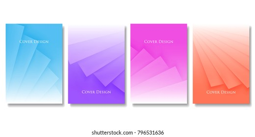 Set of Vector Geometric Colorful Templates. Abstract Three Dimensional Pleated Paper Texture with Gradient Effect. Applicable for Web Background, Banners, Posters and Fliers. EPS 10 Vector.