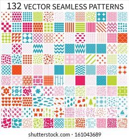 Set of vector geometric, polka dot, floral, decorative patterns.