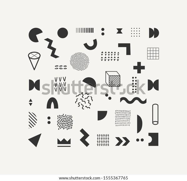 Set Vector Geometric Shapes Textures Trendy Stock Vector