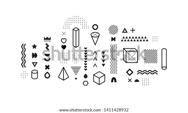 Set of vector geometric shapes. Trendy graphic elements for your unique design.