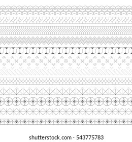 Set of vector geometrical dividers. Borders for the text, invitation cards, various printing editions. Seamless horizontal patterns. Modern trendy elements for design.