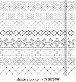 Set of vector geometrical dividers. Borders for the text, invitation cards, various printing editions. Dividing lines in the form of a seamless horizontal or vertical seamless pattern.