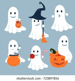 Set of vector ghosts for Halloween design.