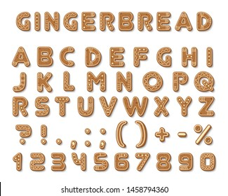 Set of vector gingerbread dark brown cookies tasty delicious shaped english alphabet font letters, icing-sugar covered signs, arabic numbers isolated on white background.