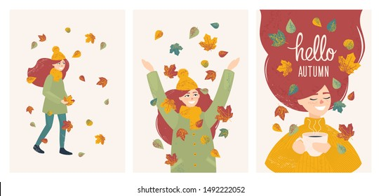 set with vector girl in autumn leaves walking, drinking coffee and throwing leaves. Postcard design with a young red-haired cheerful girl and the inscription Hello Autumn