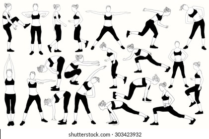 Set vector of a girl trains on white background.