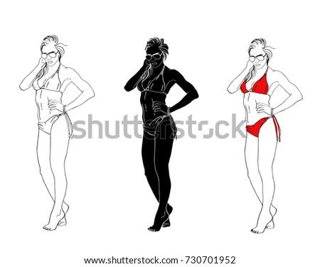 Set Vector Girls Swimsuit Glasses Isolated Black Stock Vector