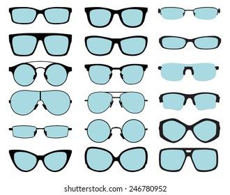 set of vector glasses with blue lenses on white background