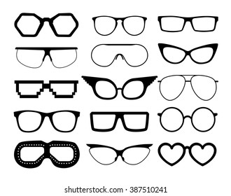Set of vector glasses on white background, including  aviation and pixel style goggles.