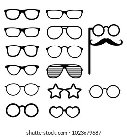 Set of vector glasses. Photo props. Hipster style. Different glasses types. Vector illustration