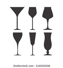 Set of vector glasses for wine, martini, champagne and other. Vector image of the champagne glasses icon.